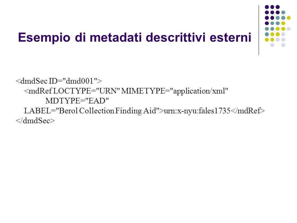 urn:x-nyu:fales1735 Esempio di metadati descrittivi esterni