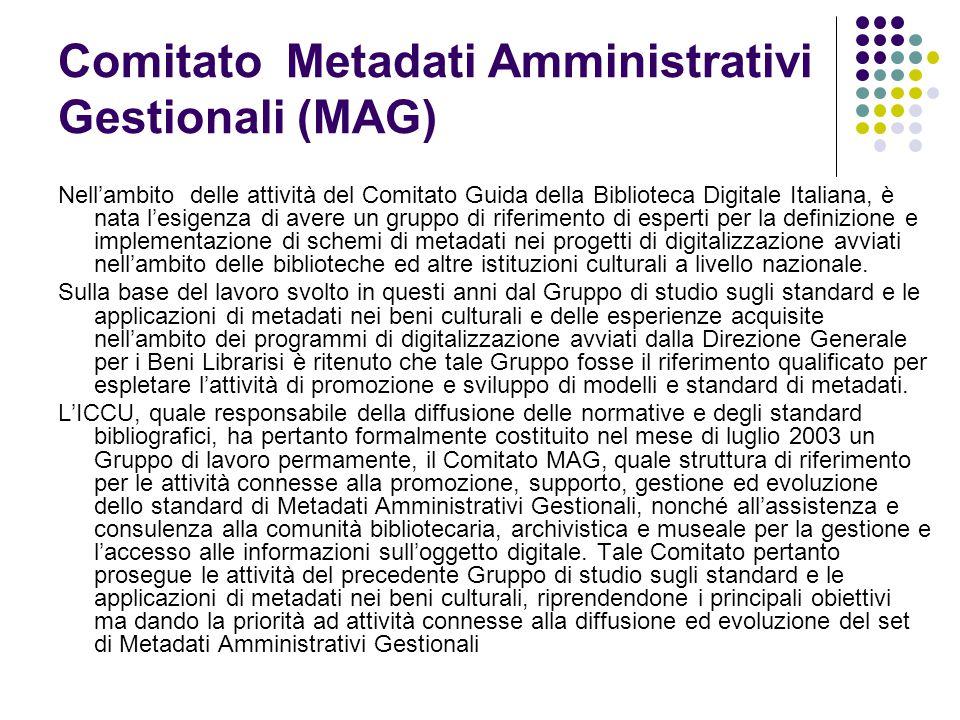 Comitato Metadati Amministrativi Gestionali (MAG) Nell'ambito delle attività del Comitato Guida della Biblioteca Digitale Italiana, è nata l'esigenza