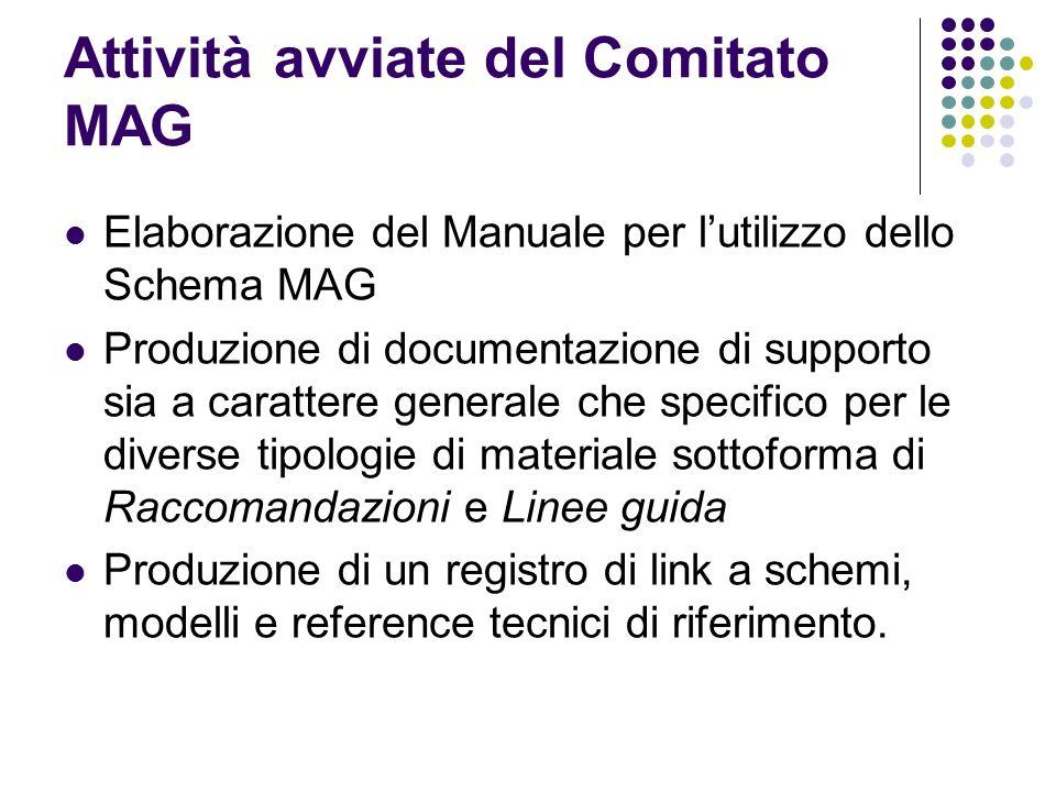 Attività avviate del Comitato MAG  Elaborazione del Manuale per l'utilizzo dello Schema MAG  Produzione di documentazione di supporto sia a caratter