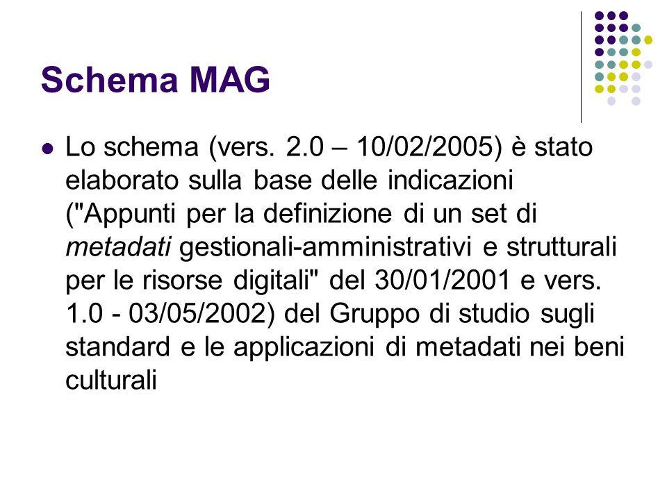 Schema MAG  Lo schema (vers. 2.0 – 10/02/2005) è stato elaborato sulla base delle indicazioni (