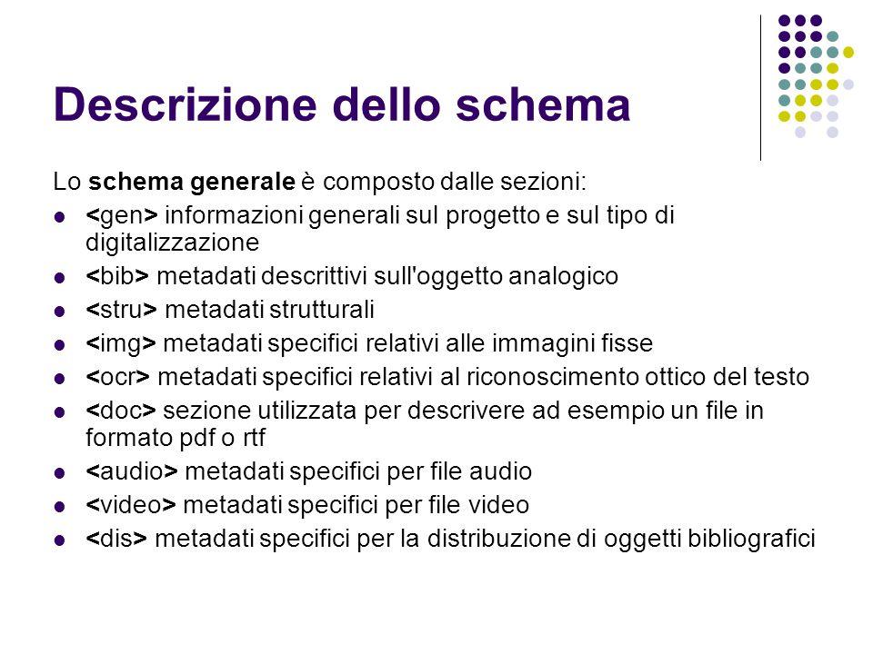 Descrizione dello schema Lo schema generale è composto dalle sezioni:  informazioni generali sul progetto e sul tipo di digitalizzazione  metadati d