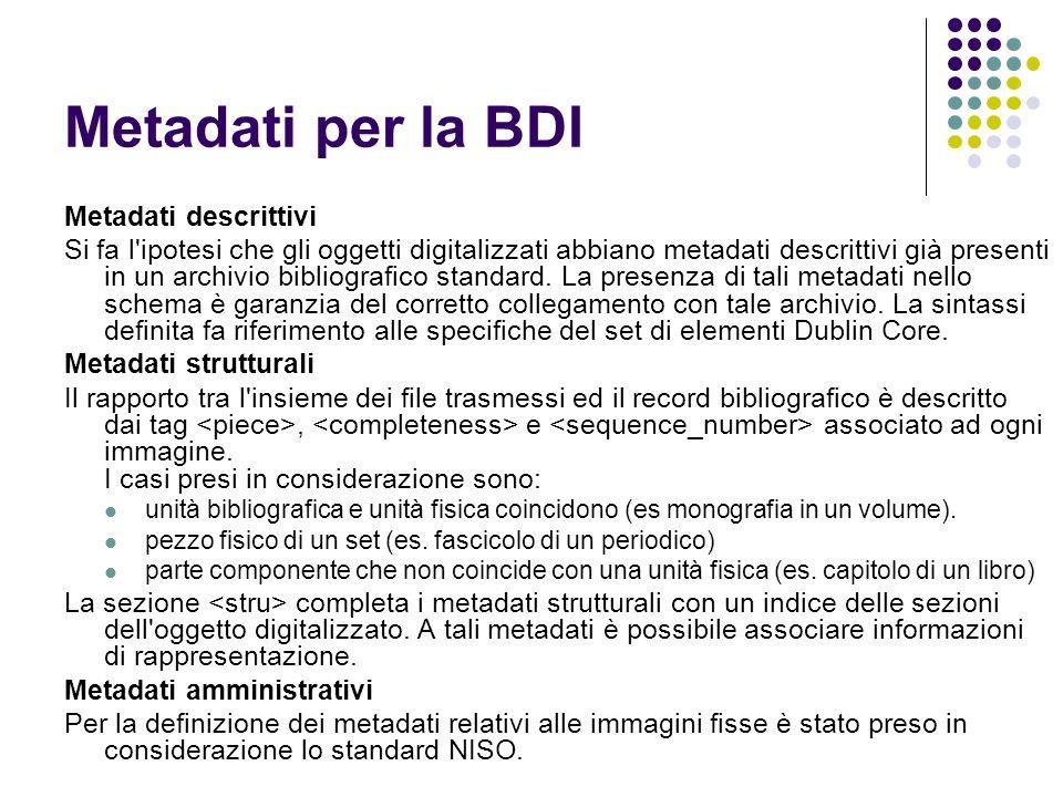 Metadati per la BDI Metadati descrittivi Si fa l ipotesi che gli oggetti digitalizzati abbiano metadati descrittivi già presenti in un archivio bibliografico standard.