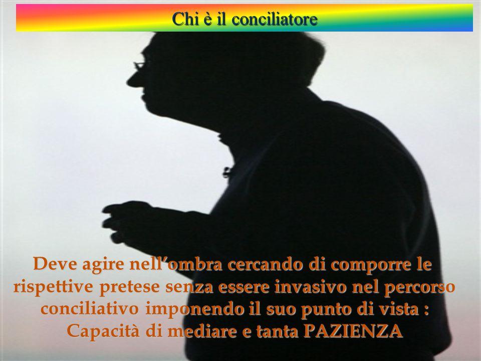 Chi è il conciliatore Deve agire nell'ombra cercando di comporre le rispettive pretese senza essere invasivo nel percorso conciliativo imponendo il suo punto di vista : Capacità di mediare e tanta PAZIENZA