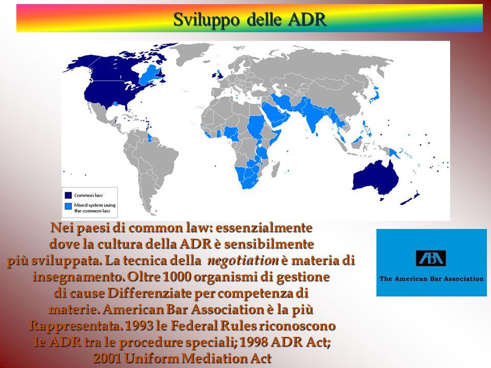 Nei paesi di common law: essenzialmente dove la cultura della ADR è sensibilmente più sviluppata.