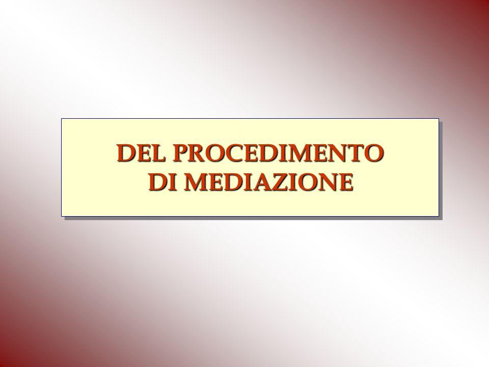 DEL PROCEDIMENTO DI MEDIAZIONE DEL PROCEDIMENTO DI MEDIAZIONE