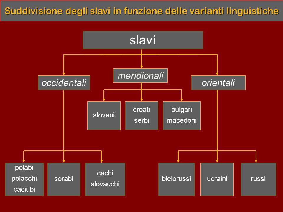 Suddivisione degli slavi in funzione delle varianti linguistiche slavi occidentali meridionali orientali croati serbi sloveni bulgari macedoni cechi slovacchi sorabi polabi polacchi caciubi russiucrainibielorussi