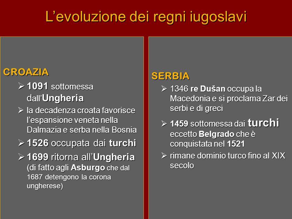 L'evoluzione dei regni iugoslavi SERBIA  1346 re Dušan occupa la Macedonia e si proclama Zar dei serbi e di greci  1459 sottomessa dai turchi eccetto Belgrado che è conquistata nel 1521  rimane dominio turco fino al XIX secolo CROAZIA  1091 sottomessa d all' Ungheria  la decadenza croata favorisce l'espansione veneta nella Dalmazia e serba nella Bosnia  1526 occupata dai turchi  1699 ritorna all'Ungheria (di fatto agli Asburgo che dal 1687 detengono la corona ungherese)