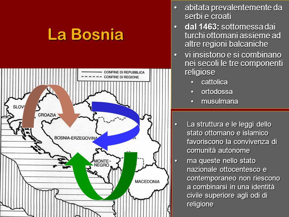 La Bosnia •a•a•a•abitata prevalentemente da serbi e croati •d•d•d•dal 1463: sottomessa dai turchi ottomani assieme ad altre regioni balcaniche •v•v•v•vi insistono e si combinano nei secoli le tre componenti religiose •c•c•c•cattolica •o•o•o•ortodossa •m•m•m•musulmana •La struttura e le leggi dello stato ottomano e islamico favoriscono la convivenza di comunità autonome •ma queste nello stato nazionale ottocentesco e contemporaneo non riescono a combinarsi in una identità civile superiore agli odi di religione