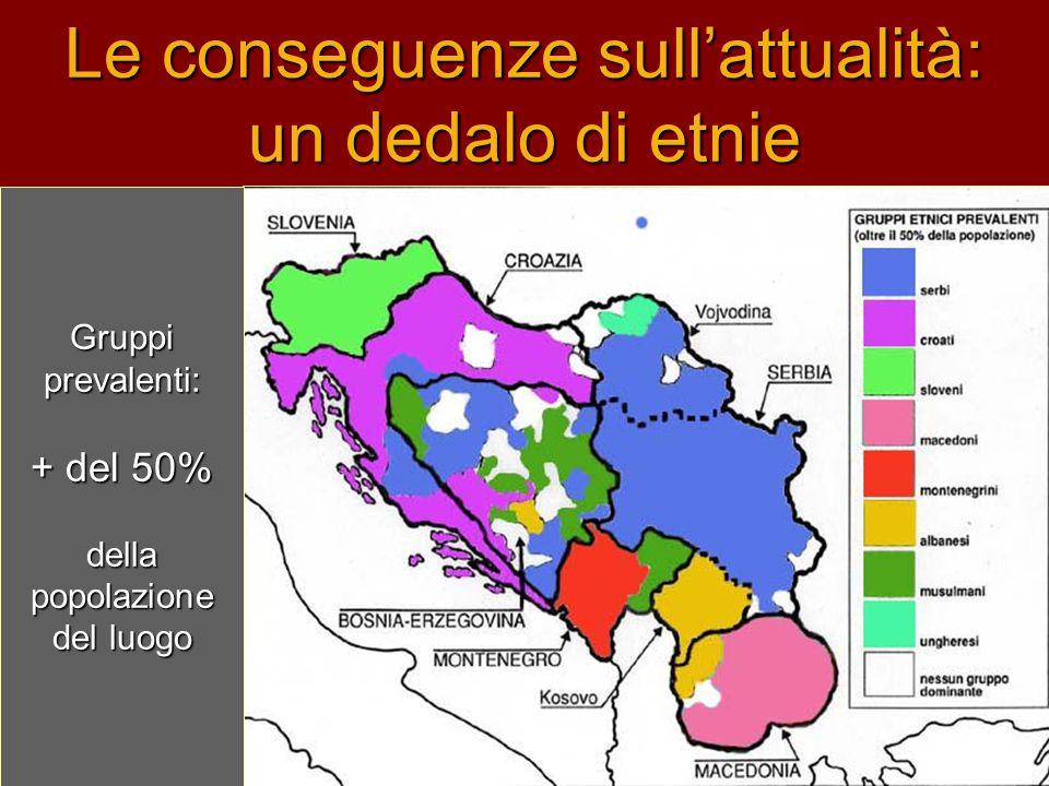 Le conseguenze sull'attualità: un dedalo di etnie Gruppi prevalenti: + del 50% della popolazione del luogo