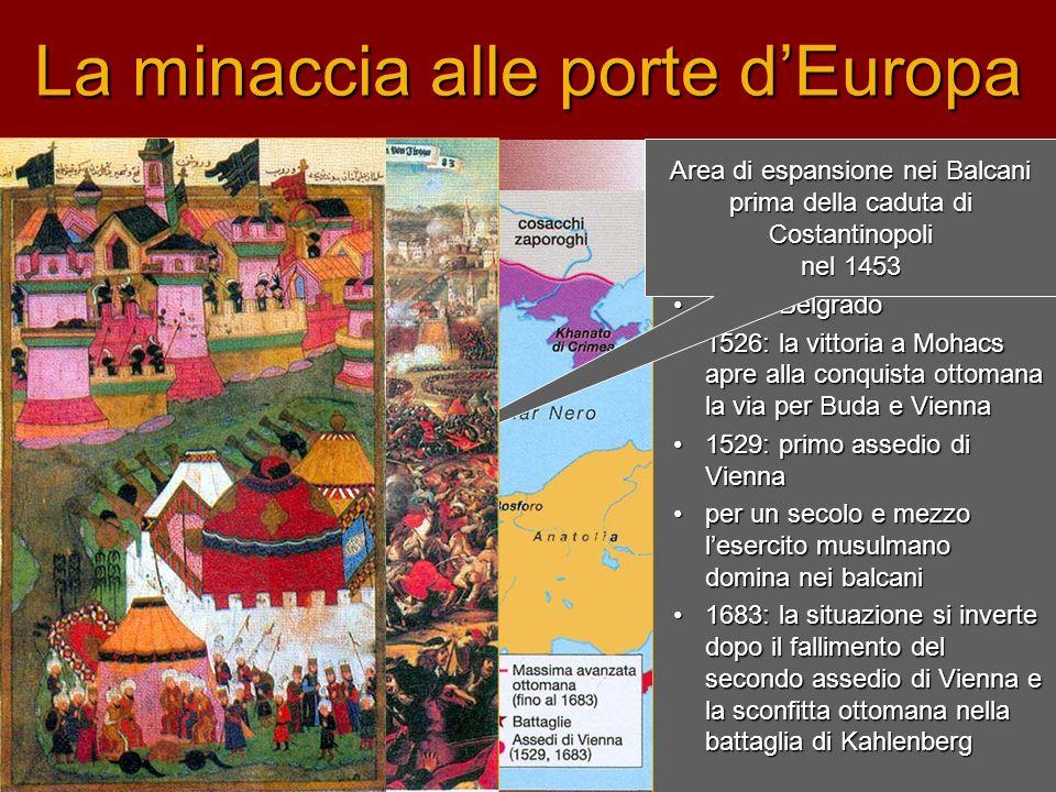 La minaccia alle porte d'Europa La spinta espansiva riprende con il sultanato di Solimano il Magnifico (1520): •1521: Belgrado •1526: la vittoria a Mo
