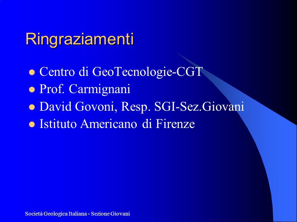 Società Geologica Italiana - Sezione Giovani Ringraziamenti  Centro di GeoTecnologie-CGT  Prof.