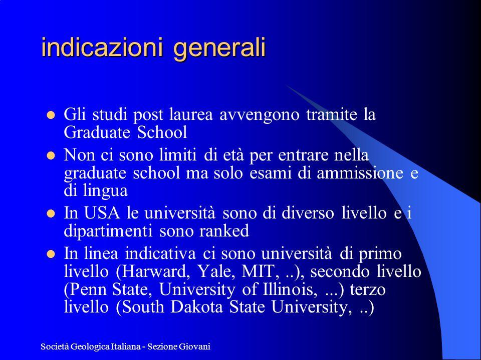 Società Geologica Italiana - Sezione Giovani Alcuni studenti che hanno effettuato studi negli USA.