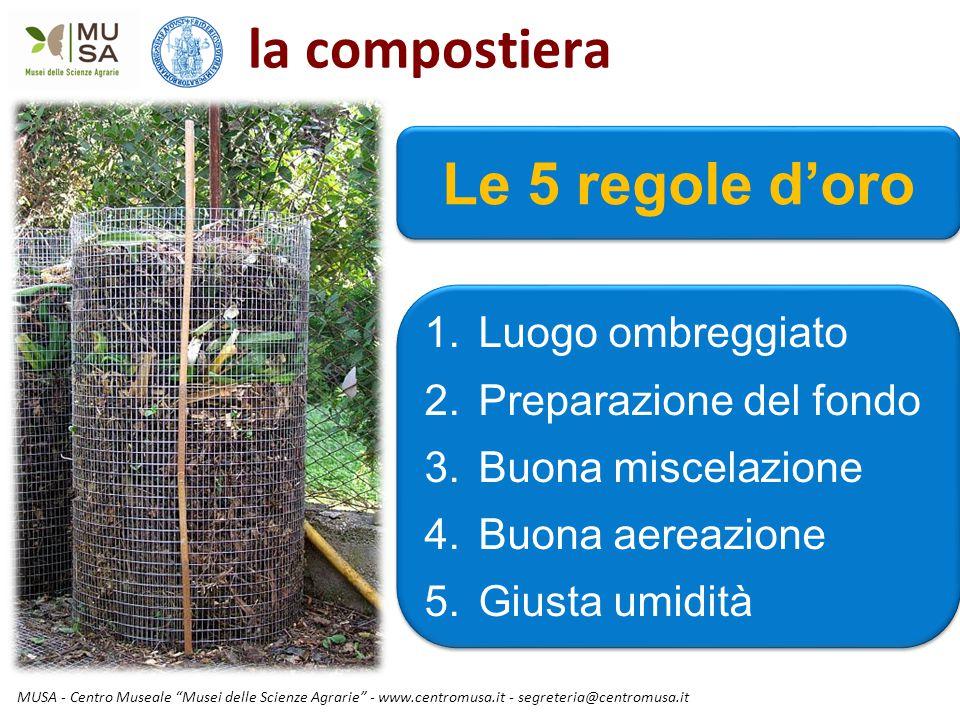 """MUSA - Centro Museale """"Musei delle Scienze Agrarie"""" - www.centromusa.it - segreteria@centromusa.it la compostiera 1.Luogo ombreggiato 2.Preparazione d"""