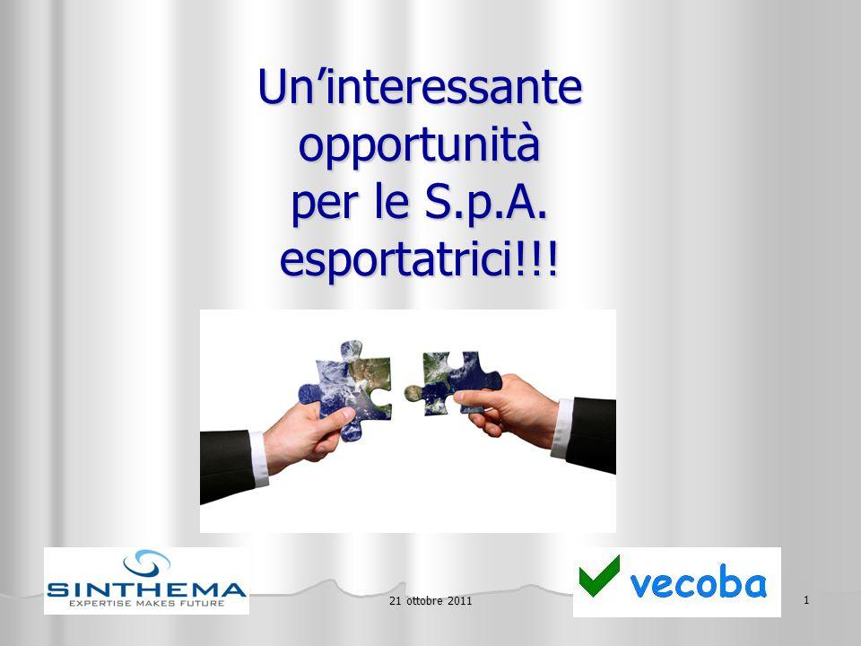 21 ottobre 2011 2 La Legge 133/2008 ha introdotto la possibilità di accedere ad un finanziamento agevolato destinato a rafforzare la struttura patrimoniale delle aziende esportatrici