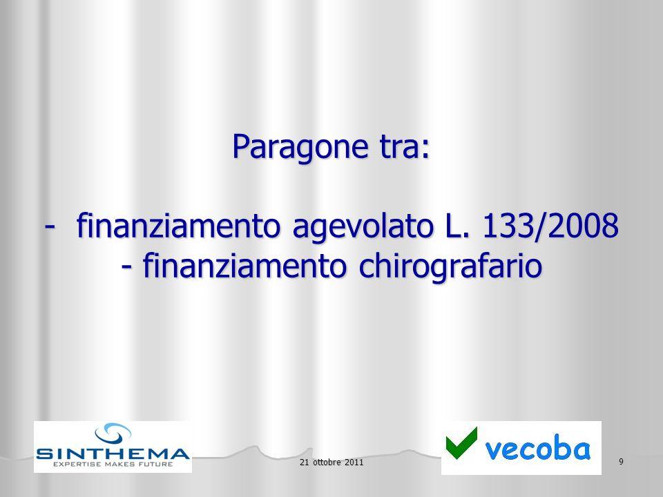 21 ottobre 2011 10 In caso di finanziamento di € 500.000, il risparmio complessivo rispetto ad un finanziamento chirografario, acceso alle odierne condizioni medie di mercato, è di oltre € 130.000 (!) (è a disposizione il prospetto di calcolo)