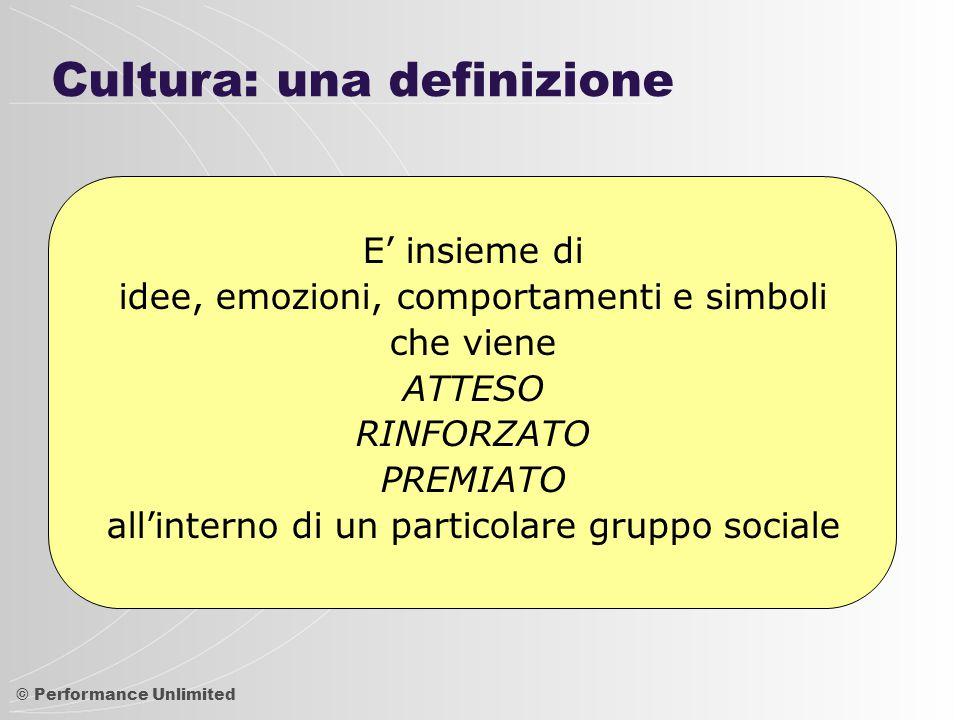 © Performance Unlimited Esempi di schemi culturali italiani  Il Tempo  Focalizzazione su passato e presente  Fluido: poco senso della puntualità.