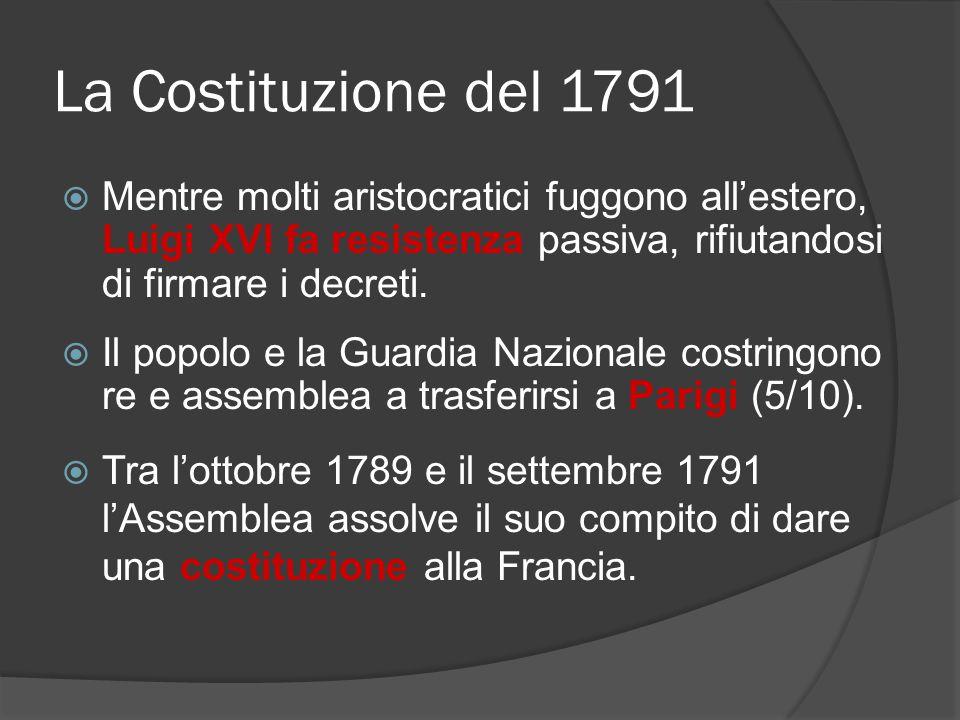 La Costituzione del 1791  Mentre molti aristocratici fuggono all'estero, Luigi XVI fa resistenza passiva, rifiutandosi di firmare i decreti.