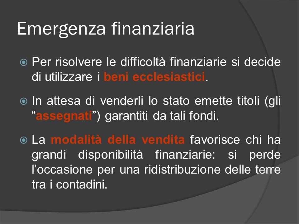 Emergenza finanziaria  Per risolvere le difficoltà finanziarie si decide di utilizzare i beni ecclesiastici.