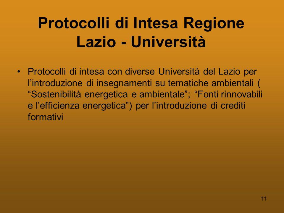 11 Protocolli di Intesa Regione Lazio - Università •Protocolli di intesa con diverse Università del Lazio per l'introduzione di insegnamenti su tematiche ambientali ( Sostenibilità energetica e ambientale ; Fonti rinnovabili e l'efficienza energetica ) per l'introduzione di crediti formativi