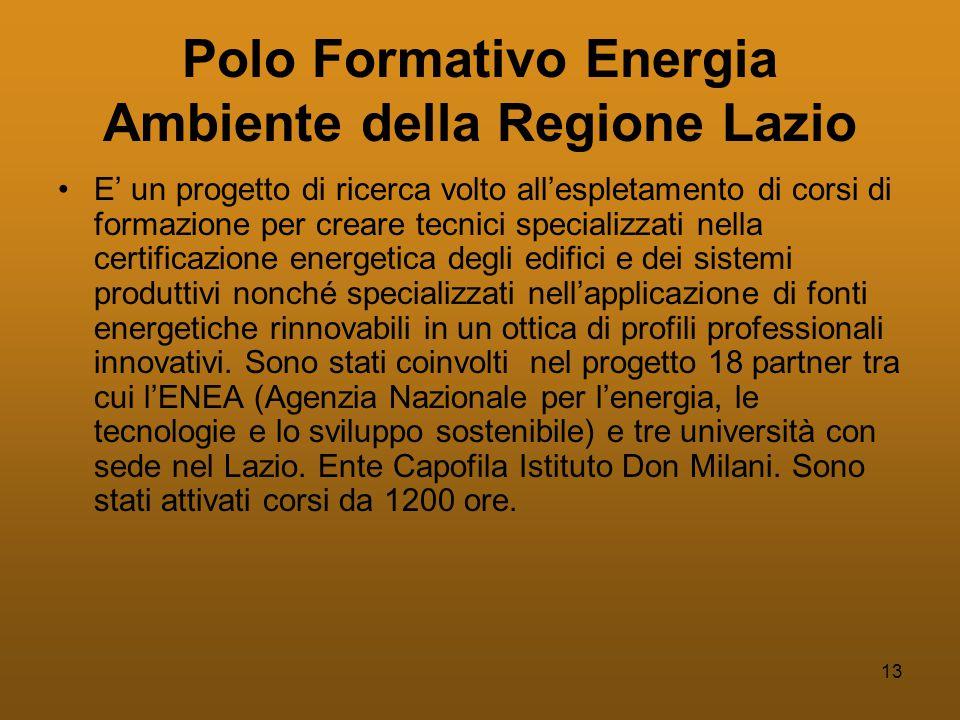 13 Polo Formativo Energia Ambiente della Regione Lazio •E' un progetto di ricerca volto all'espletamento di corsi di formazione per creare tecnici specializzati nella certificazione energetica degli edifici e dei sistemi produttivi nonché specializzati nell'applicazione di fonti energetiche rinnovabili in un ottica di profili professionali innovativi.