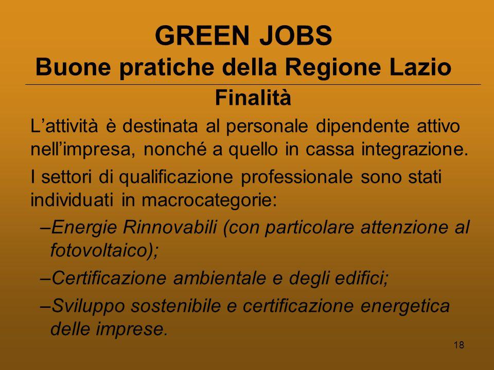 18 GREEN JOBS Buone pratiche della Regione Lazio L'attività è destinata al personale dipendente attivo nell'impresa, nonché a quello in cassa integrazione.