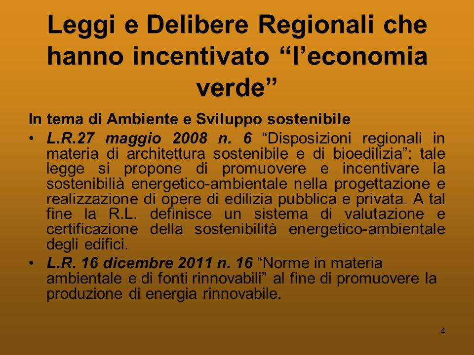 4 Leggi e Delibere Regionali che hanno incentivato l'economia verde In tema di Ambiente e Sviluppo sostenibile •L.R.27 maggio 2008 n.