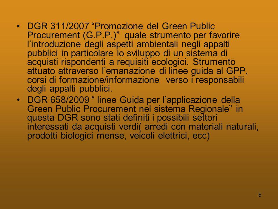 5 •DGR 311/2007 Promozione del Green Public Procurement (G.P.P.) quale strumento per favorire l'introduzione degli aspetti ambientali negli appalti pubblici in particolare lo sviluppo di un sistema di acquisti rispondenti a requisiti ecologici.