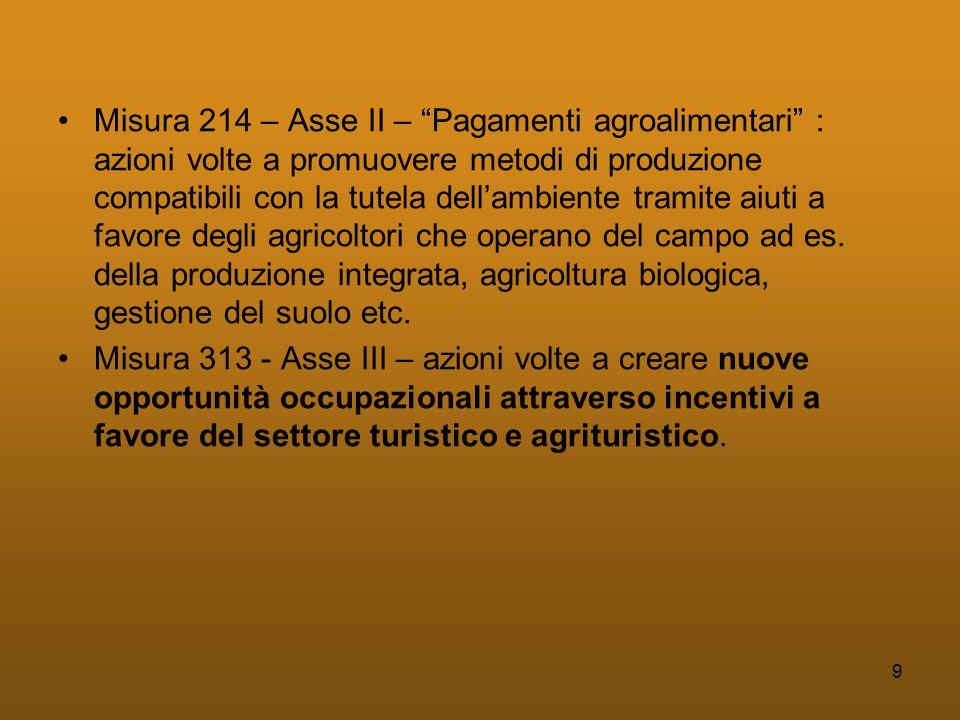 9 •Misura 214 – Asse II – Pagamenti agroalimentari : azioni volte a promuovere metodi di produzione compatibili con la tutela dell'ambiente tramite aiuti a favore degli agricoltori che operano del campo ad es.