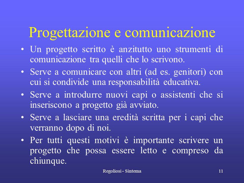 Regoliosi - Sintema11 Progettazione e comunicazione •Un progetto scritto è anzitutto uno strumenti di comunicazione tra quelli che lo scrivono. •Serve