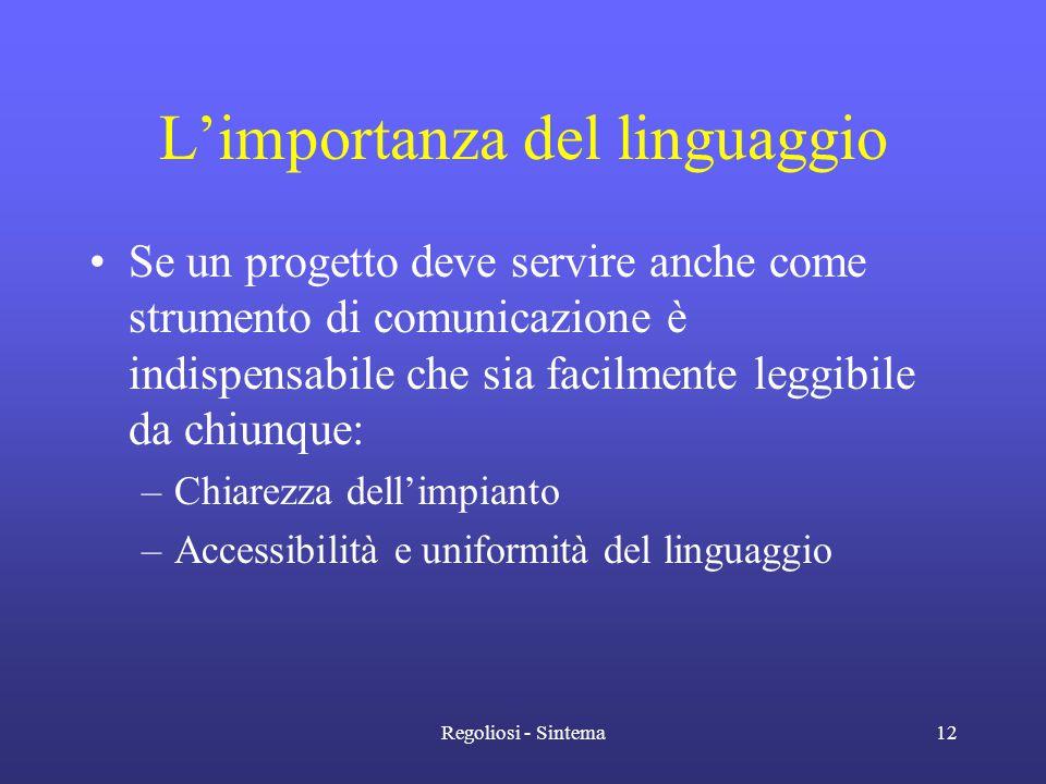 Regoliosi - Sintema12 L'importanza del linguaggio •Se un progetto deve servire anche come strumento di comunicazione è indispensabile che sia facilmen