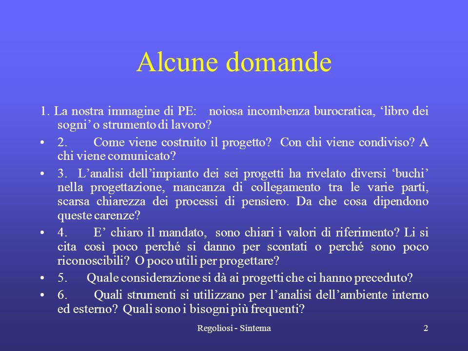 Regoliosi - Sintema2 Alcune domande 1. La nostra immagine di PE: noiosa incombenza burocratica, 'libro dei sogni' o strumento di lavoro? •2. Come vien