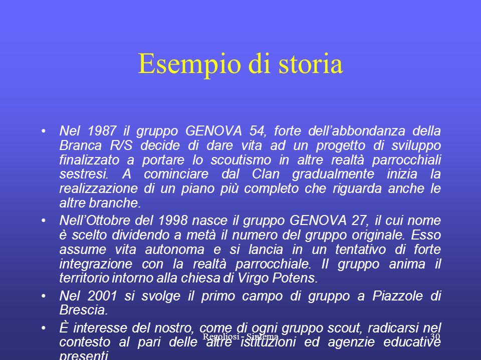 Regoliosi - Sintema30 Esempio di storia •Nel 1987 il gruppo GENOVA 54, forte dell'abbondanza della Branca R/S decide di dare vita ad un progetto di sv