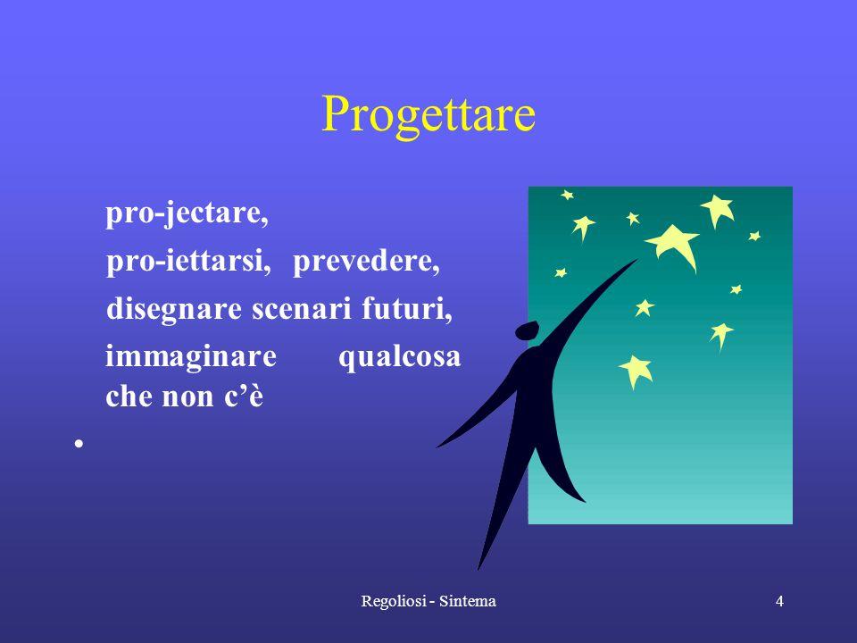 Regoliosi - Sintema4 Progettare pro-jectare, pro-iettarsi, prevedere, disegnare scenari futuri, immaginare qualcosa che non c'è •