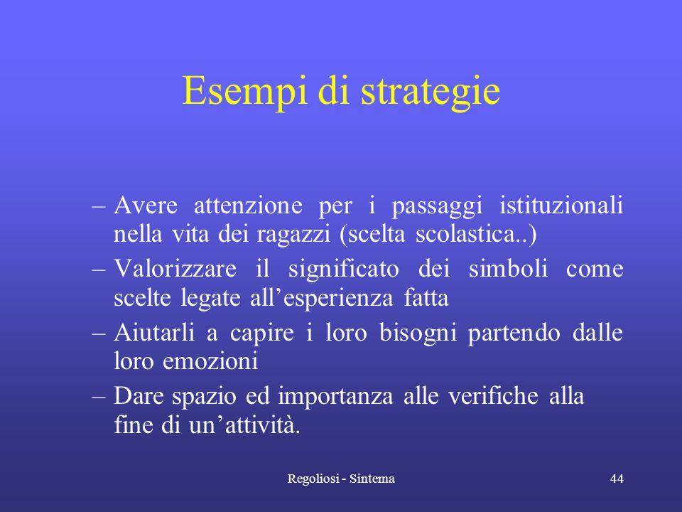 Regoliosi - Sintema44 Esempi di strategie –Avere attenzione per i passaggi istituzionali nella vita dei ragazzi (scelta scolastica..) –Valorizzare il