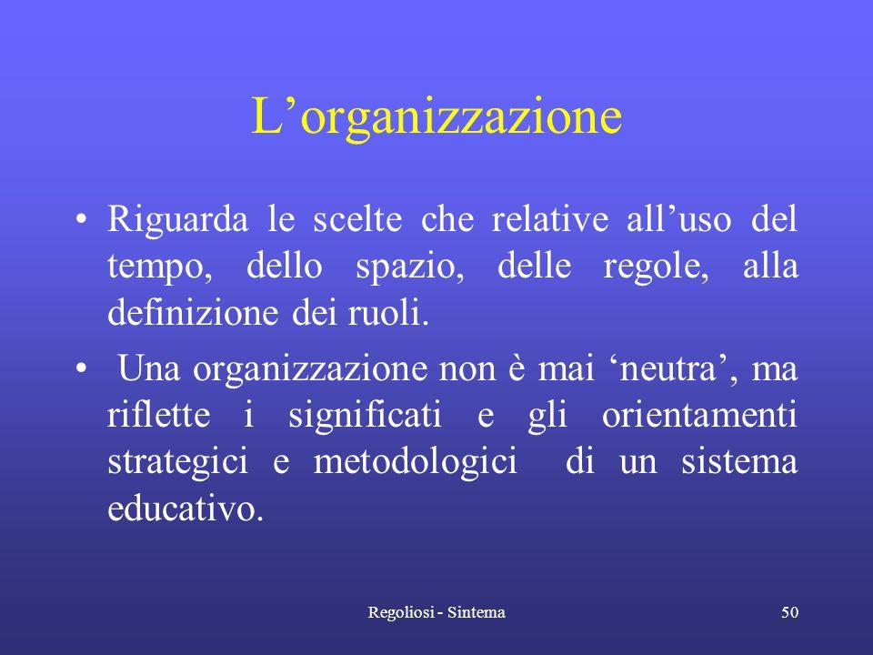 Regoliosi - Sintema50 L'organizzazione •Riguarda le scelte che relative all'uso del tempo, dello spazio, delle regole, alla definizione dei ruoli. • U