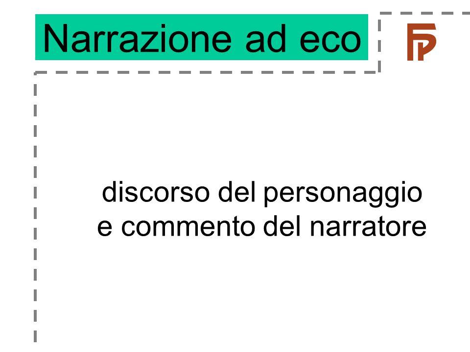 discorso del personaggio e commento del narratore Narrazione ad eco