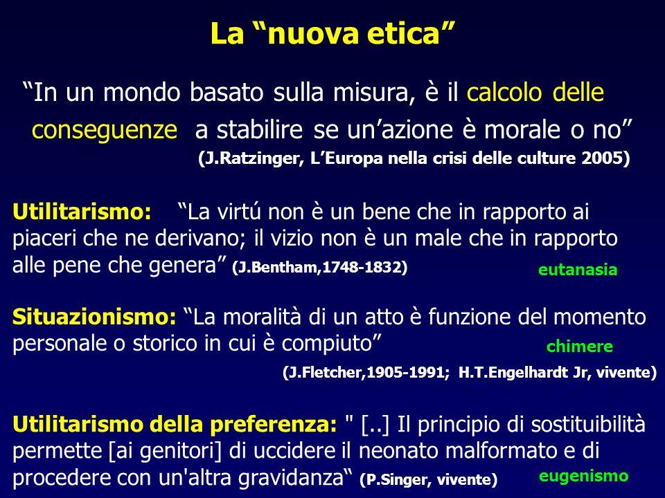 """La """"nuova etica"""" """"In un mondo basato sulla misura, è il calcolo delle conseguenze a stabilire se un'azione è morale o no"""" (J.Ratzinger, L'Europa nella"""
