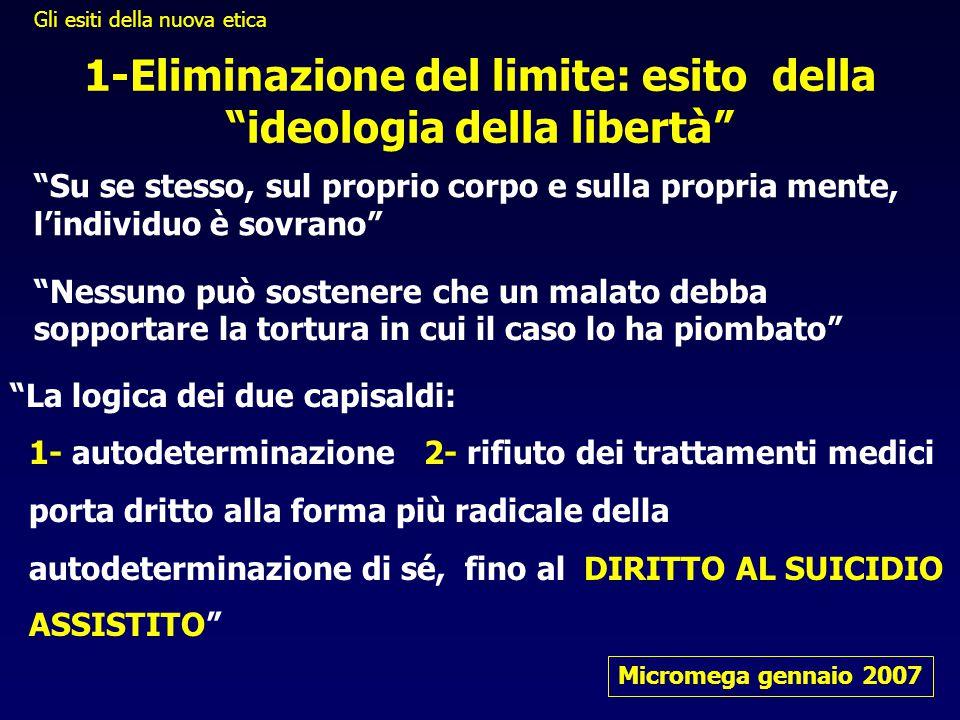 """""""Su se stesso, sul proprio corpo e sulla propria mente, l'individuo è sovrano"""" Micromega gennaio 2007 1-Eliminazione del limite: esito della """"ideologi"""