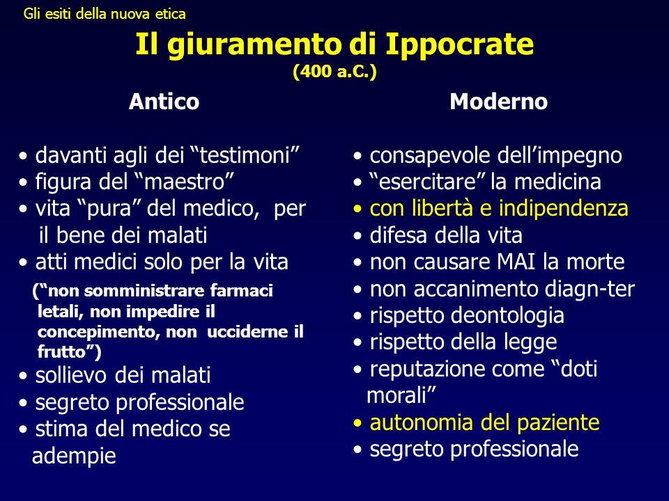 """Il giuramento di Ippocrate (400 a.C.) Antico • davanti agli dei """"testimoni"""" • figura del """"maestro"""" • vita """"pura"""" del medico, per il bene dei malati •"""