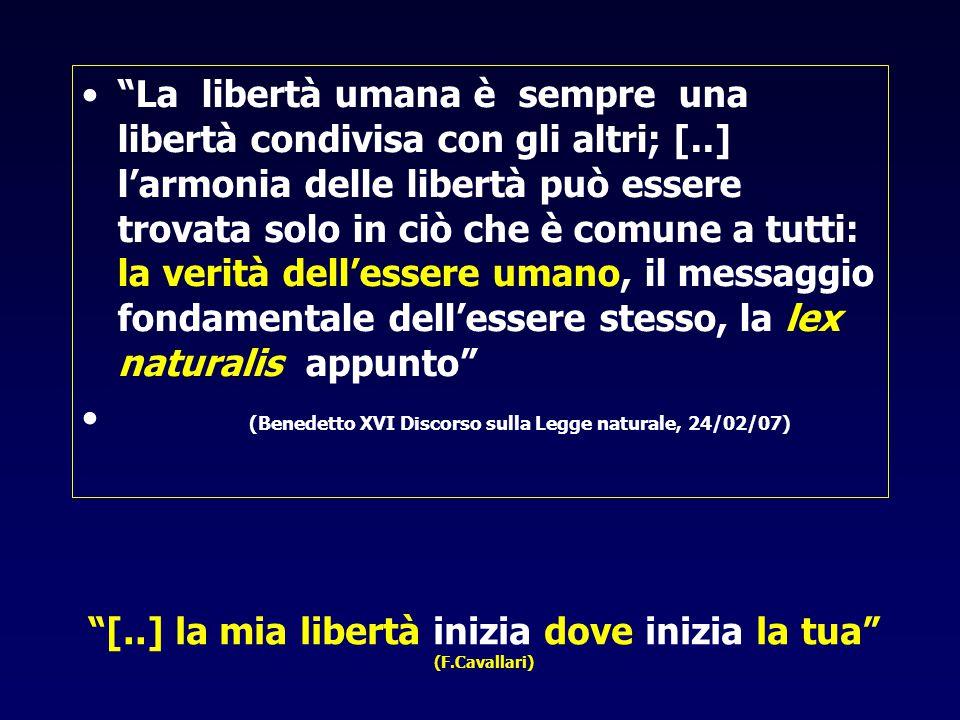 """""""[..] la mia libertà inizia dove inizia la tua"""" (F.Cavallari) •""""La libertà umana è sempre una libertà condivisa con gli altri; [..] l'armonia delle li"""