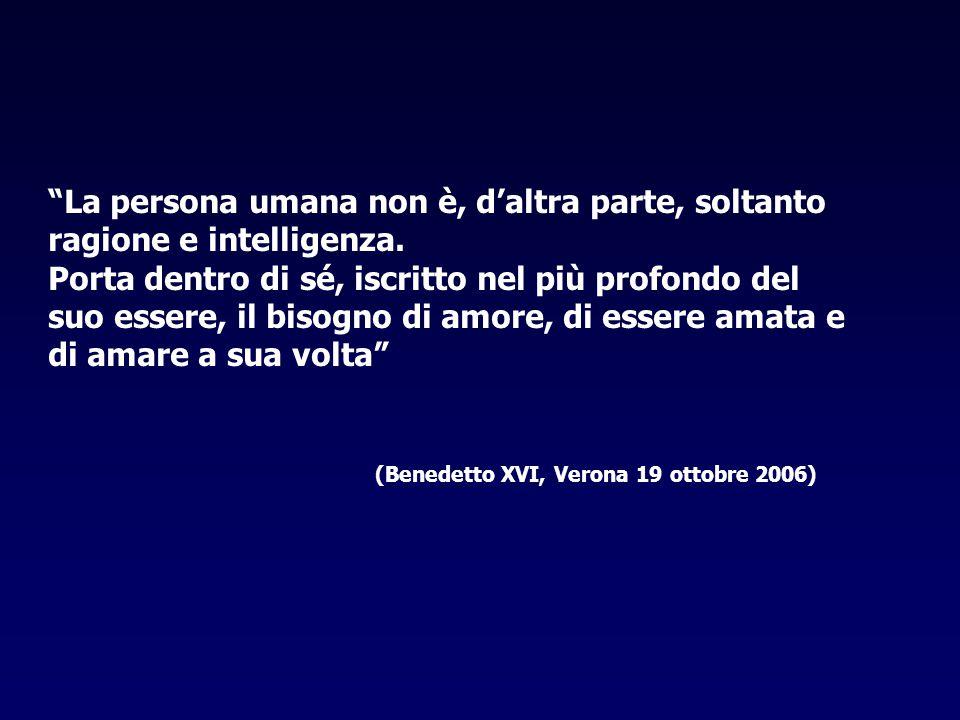 """""""La persona umana non è, d'altra parte, soltanto ragione e intelligenza. Porta dentro di sé, iscritto nel più profondo del suo essere, il bisogno di a"""