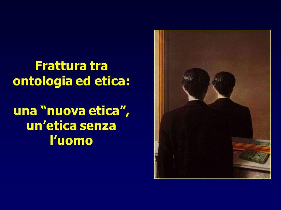La nuova etica In un mondo basato sulla misura, è il calcolo delle conseguenze a stabilire se un'azione è morale o no (J.Ratzinger, L'Europa nella crisi delle culture 2005) Utilitarismo: La virtú non è un bene che in rapporto ai piaceri che ne derivano; il vizio non è un male che in rapporto alle pene che genera (J.Bentham,1748-1832) Situazionismo: La moralità di un atto è funzione del momento personale o storico in cui è compiuto (J.Fletcher,1905-1991; H.T.Engelhardt Jr, vivente) Utilitarismo della preferenza: [..] Il principio di sostituibilità permette [ai genitori] di uccidere il neonato malformato e di procedere con un altra gravidanza (P.Singer, vivente) eutanasia chimere eugenismo