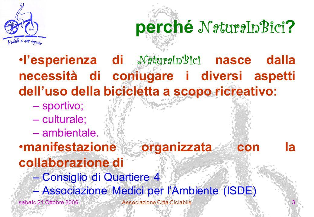 sabato 21 Ottobre 2006Associazione Città Ciclabile4 quando si è svolta.