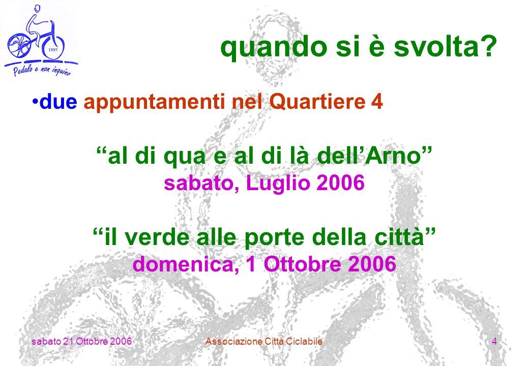 sabato 21 Ottobre 2006Associazione Città Ciclabile5 al di qua e al di là dell'Arno