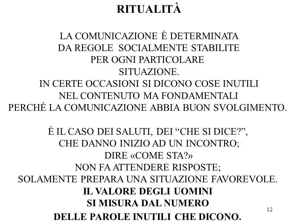 12 RITUALITÀ LA COMUNICAZIONE È DETERMINATA DA REGOLE SOCIALMENTE STABILITE PER OGNI PARTICOLARE SITUAZIONE.