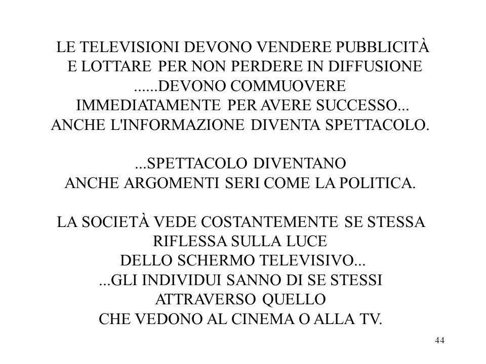44 LE TELEVISIONI DEVONO VENDERE PUBBLICITÀ E LOTTARE PER NON PERDERE IN DIFFUSIONE......DEVONO COMMUOVERE IMMEDIATAMENTE PER AVERE SUCCESSO...