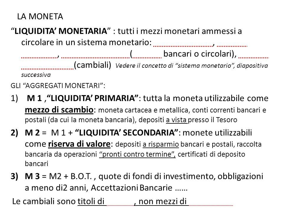 """LA MONETA """"LIQUIDITA' MONETARIA"""" : tutti i mezzi monetari ammessi a circolare in un sistema monetario: carta – moneta, moneta metallica, moneta bancar"""