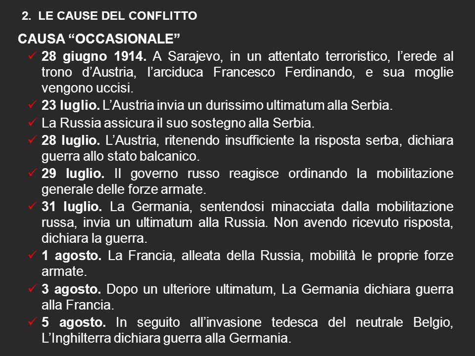 1. Il SISTEMA DELLE ALLEANZE  1882. Germania, Austria-Ungheria e Italia sottoscrivono la Triplice Alleanza  1907. Inghilterra, Francia e Russia cost