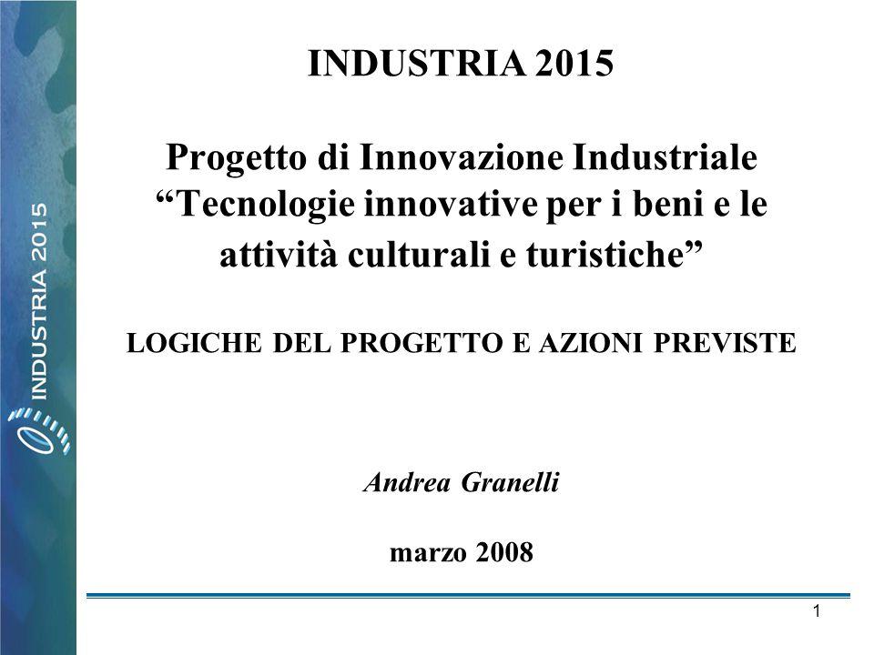 """1 INDUSTRIA 2015 Progetto di Innovazione Industriale """"Tecnologie innovative per i beni e le attività culturali e turistiche"""" LOGICHE DEL PROGETTO E AZ"""