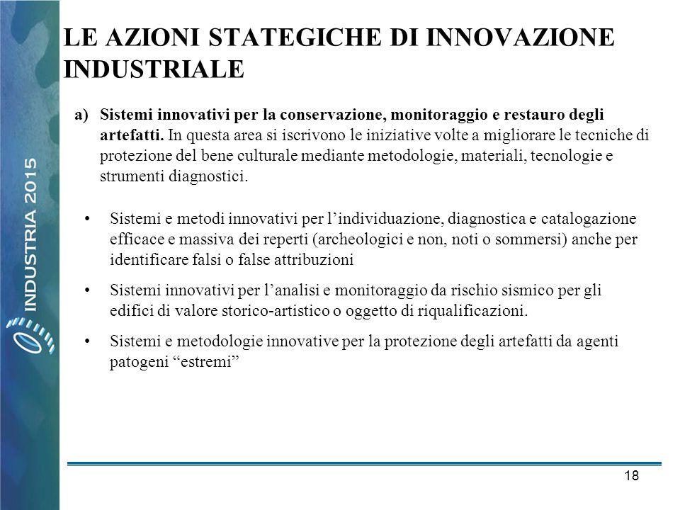 18 LE AZIONI STATEGICHE DI INNOVAZIONE INDUSTRIALE a)Sistemi innovativi per la conservazione, monitoraggio e restauro degli artefatti. In questa area